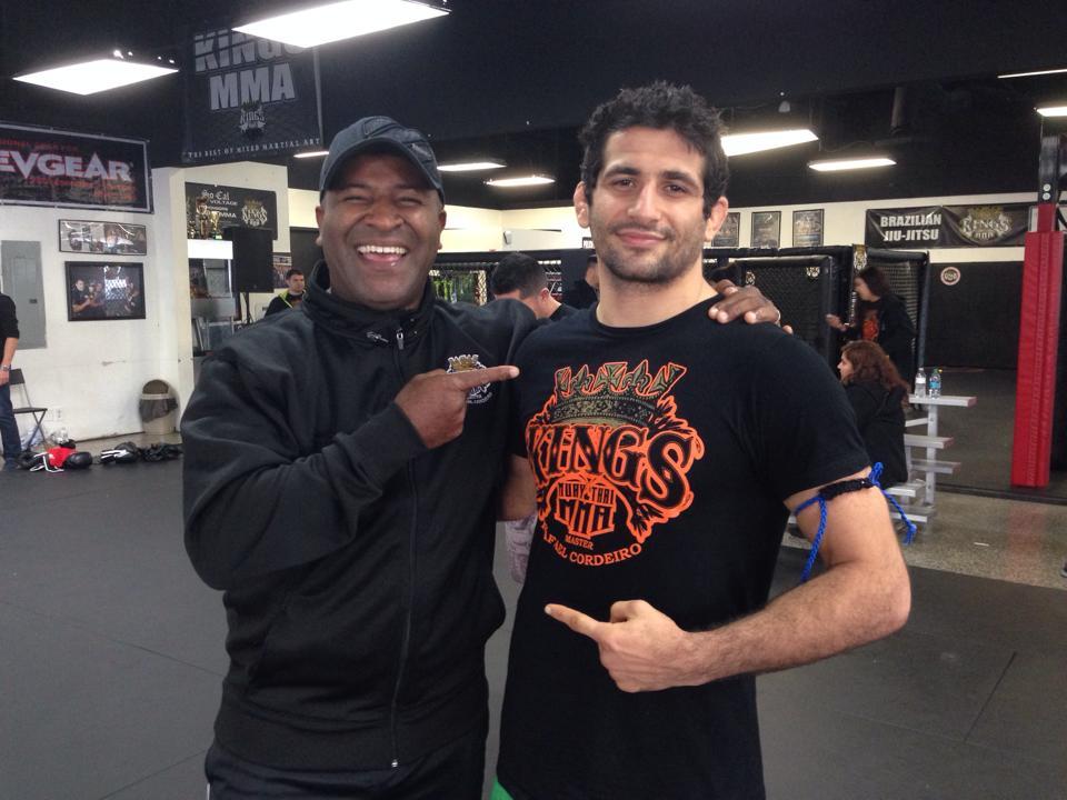 Benny Dariush alongside Master Rafael Cordeiro after a recent promotion to black/navy blue belt. Photo: Personal Archive