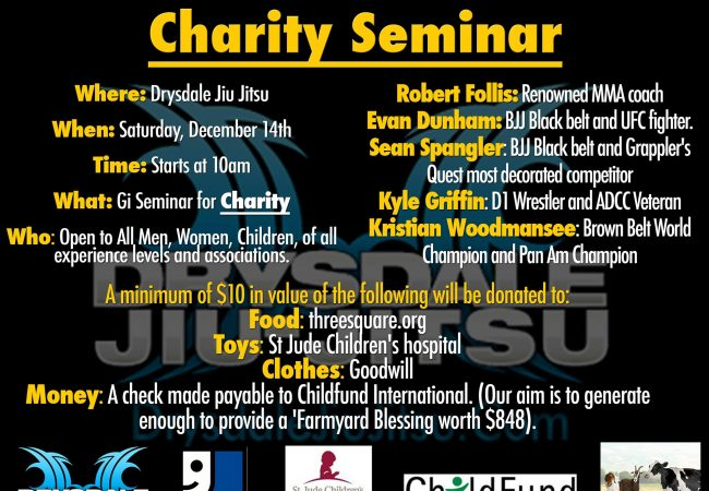 Attend a charity seminar at GMA Drysdale Jiu-Jitsu on Saturday, Dec. 14