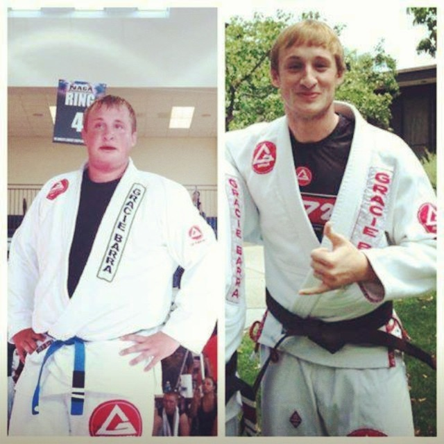 Andrew Wooten, before and after. Photo from Andrew's Instagram