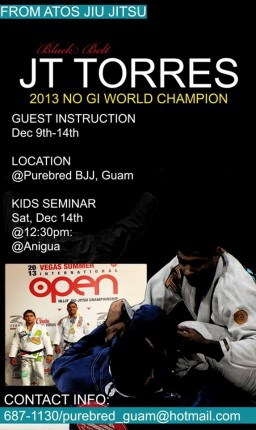 GMA Purebred BJJ brings JT Torres to Guam for guest instruction Dec. 9-14