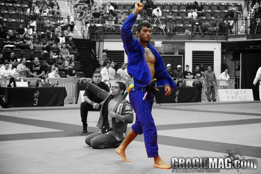"""Francisco """"Sinistro"""" Iturralde at the 2013 IBJJF Chicago Summer Open where he earned his first black belt gold. Photo: Ivan Trindade"""