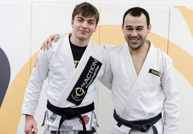 Gianni Grippo receives his black belt from prankster Marcelo Garcia