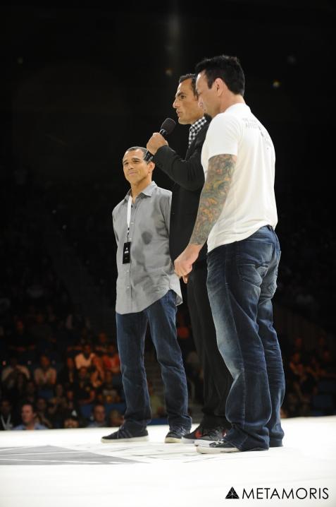 Royler e Eddie Bravo aceitaram o tira-teima em junho, no último evento de Ralek Gracie. Foto: Metamoris/Divulgação