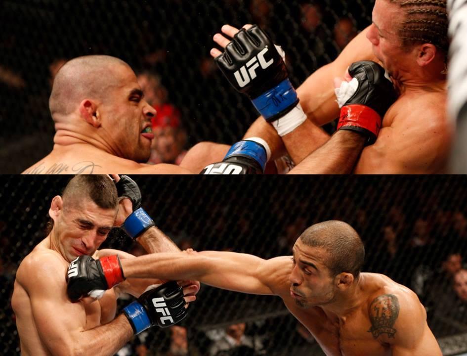 Barão acerta Faber e Lamas recebe golpe de Aldo. Os brasileiros ficam com as cintas. Foto: UFC/Facebook