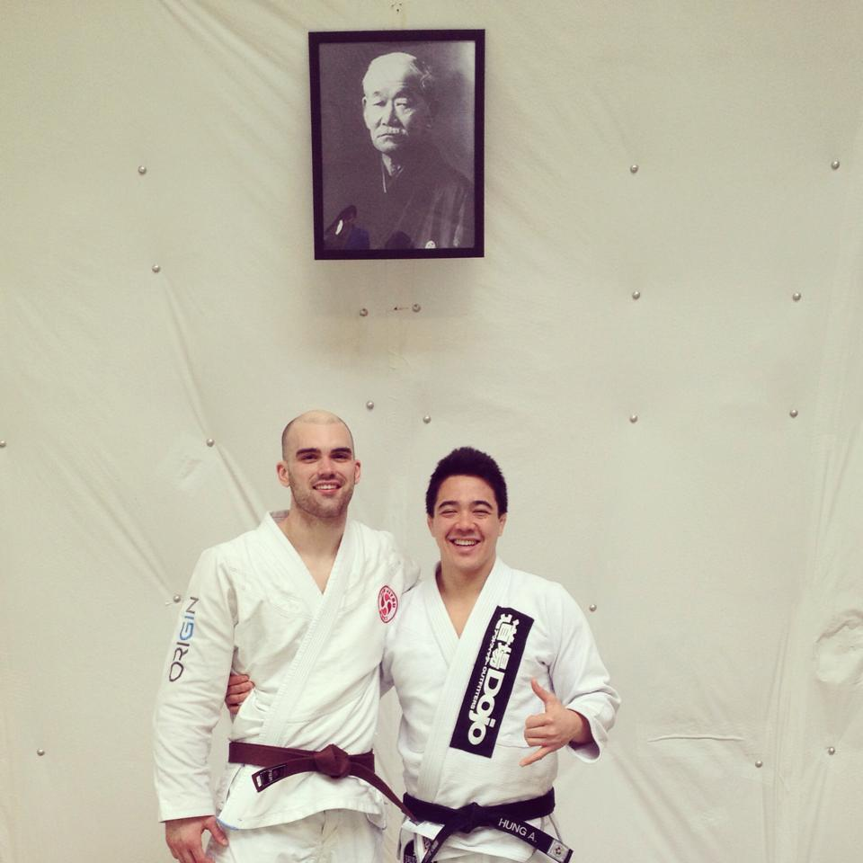 James Puopolo with his judo professor Andy Huang after his brown belt promotion. Photo: Personal Archive
