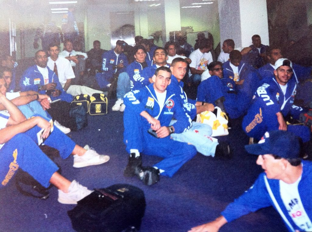 Rodrigo Clark and the rest o the team waiting to fly to the USA