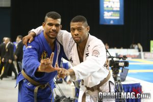 Tim Spriggs (right) and Erberth Santon (left) after closing out the brown belt adult open weight division. Photo: Erin Herle