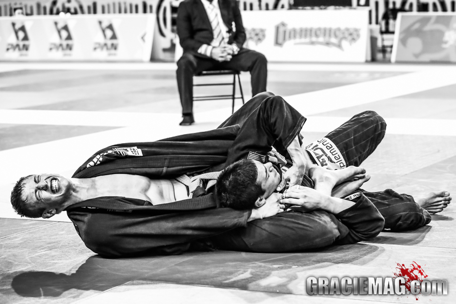 Alliance's Nicholas Meregali did a great job at the Pan, winning the purple belt open class with this fierce choke from the back