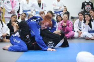 A sneaky choke set-up was taught by Kristina Barlaan with the help of black belt Stephanie Moon. Photo: Erin Herle