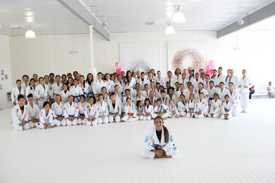 Angelica Galvao and the 100+ females on the mats at AOJ. Photo: Personal Archive
