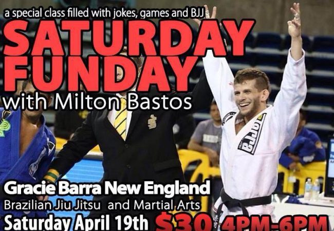 Learn from Milton Bastos in a special class at GMA Gracie Barra New England April 19