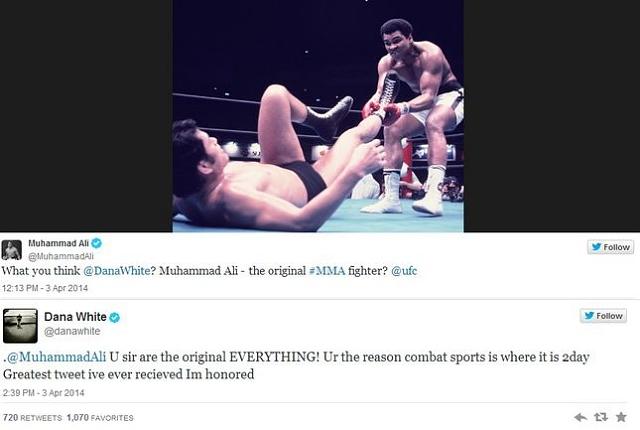 Ali e Dana White trocaram figurinhas pelo Twitter Foto Reproducao
