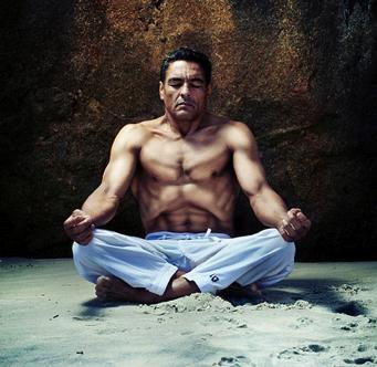 Rickson Gracie Practises a yoga breathing technique
