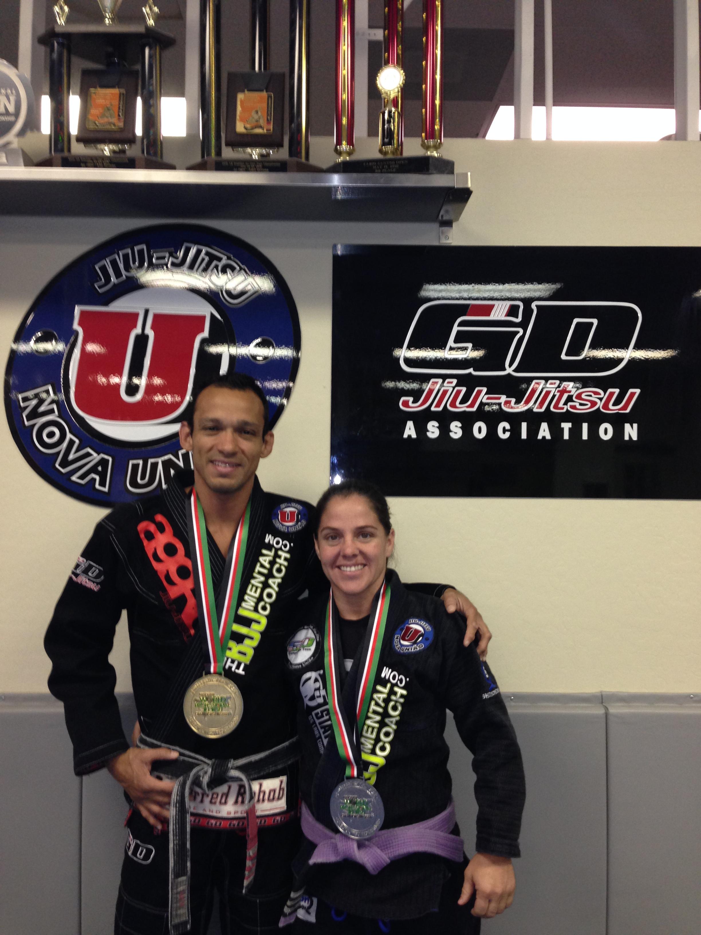 Gustavo Dantas with his student Sarah Black after the 2014 Abu Dhabi World Professional Jiu-Jitsu Championship. Photo: Personal Archive