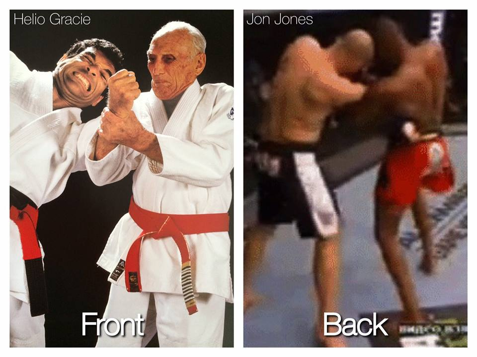 Helio Gracie is shown performing a move that was done by Jon Jones in UFC 172. Photo: Valente brothers