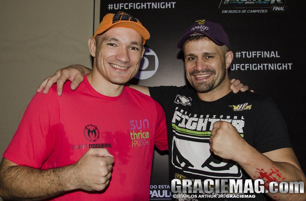Vitor Miranda, ao lado do amigo Fábio Maldonado, no TUF Brasil 3 Finale. Foto: Carlos Arthur/GRACIEMAG