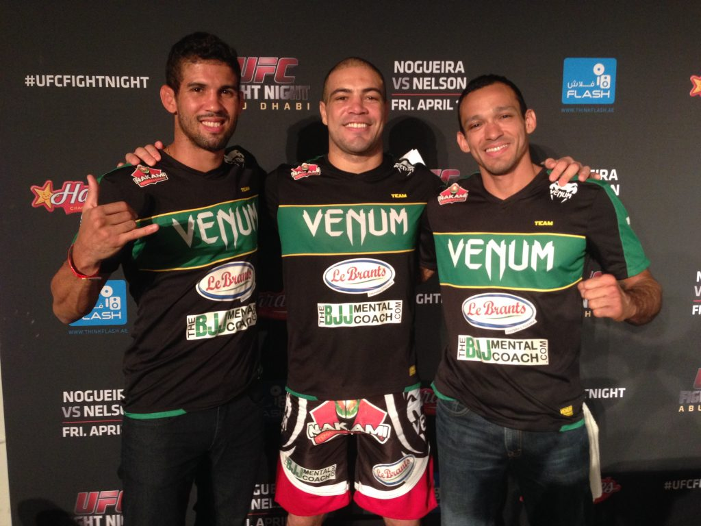 The BJJ Mental Coach (right) with Leo Santos (left) and Thales Leites (middle). Photo: Personal archive