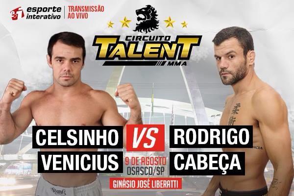Faixa-preta Celsinho Venicius encara Rodrigo Cabeça no Talent, em agosto
