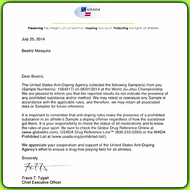 Bia Mesquita's letter from USADA