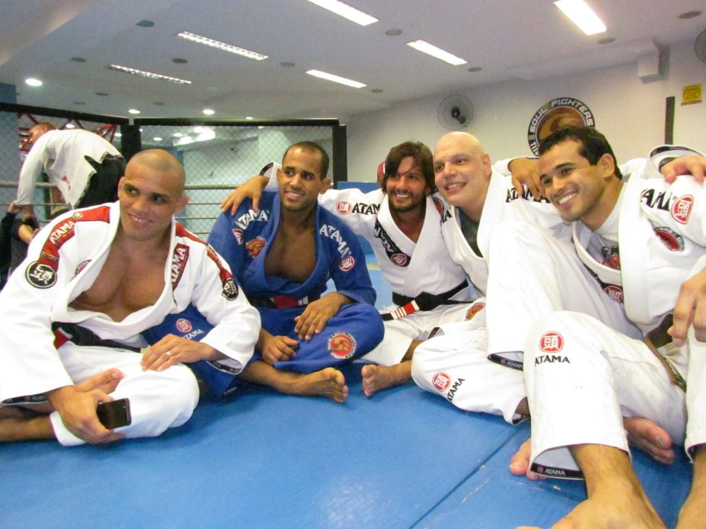 João Gabriel Rocha with some of his teammates at the Soul Fighters HQ in Rio.