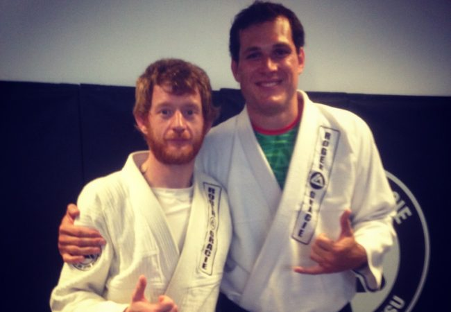 Kev Capel of GMA RGA Bucks celebrates first degree promotion by Roger Gracie