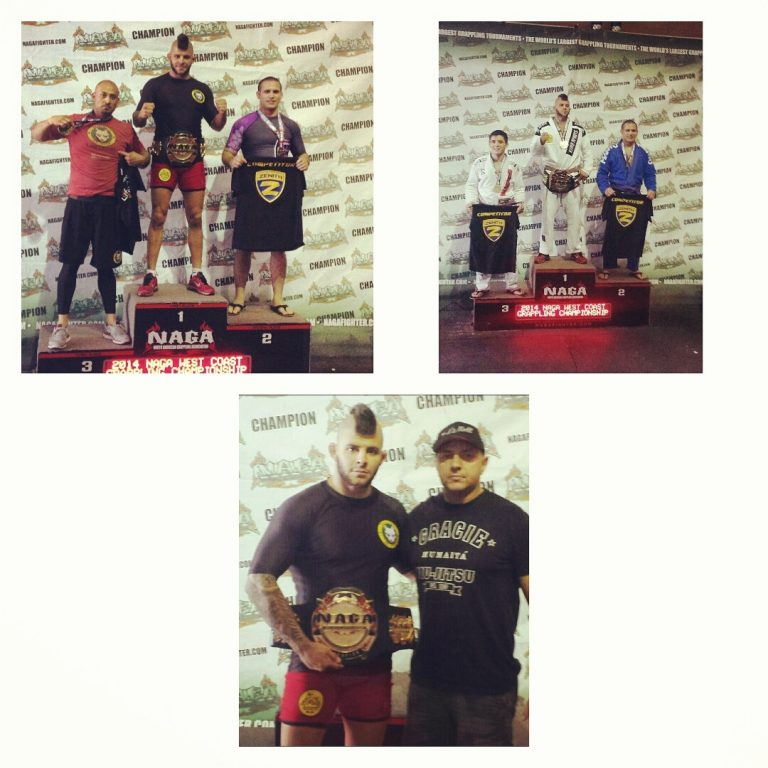 gabriel Checco on the podium (on top) and posing with his coach Mica Cipili (on the bottom).