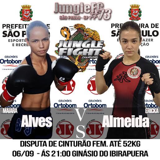 Maira Alves e Ericka Almeida inauguram o peso-palha feminino do Jungle.Foto: Divulgação