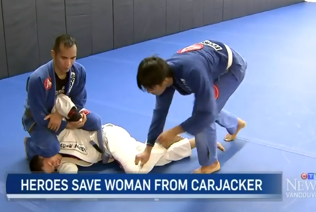 Jiu-Jitsu practitioners help save a woman from a carjacker in Vancouver, BC