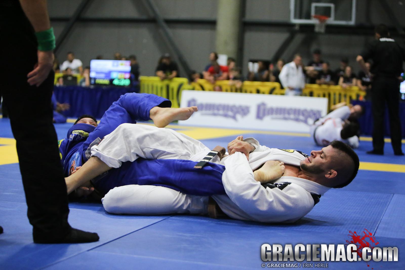 Gabriel secures a kneebar in the final. Photo: Erin Herle