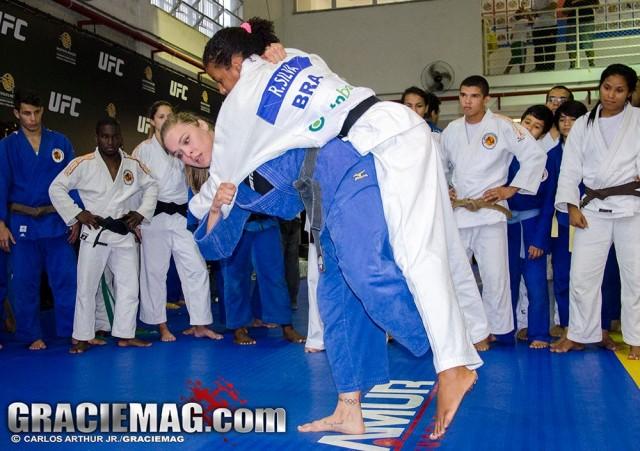 Ronda Rousey teaching judo throws
