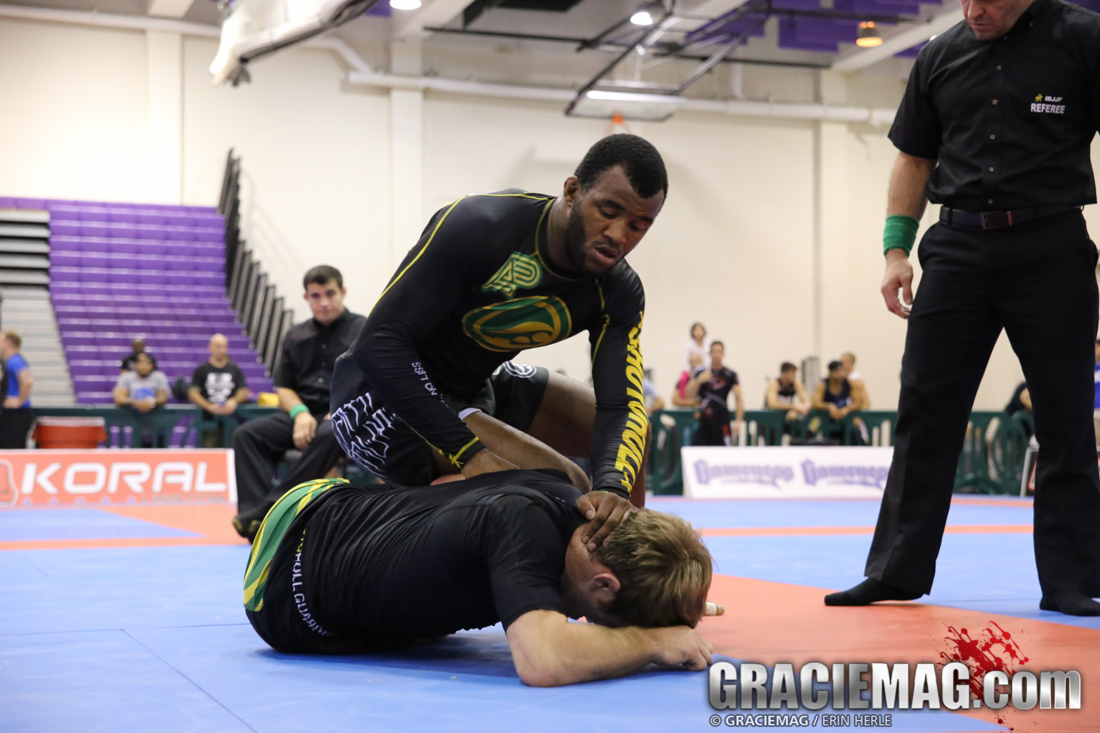 Jackson Sousa against AJ Agazarm in the open class final. Photo: Erin Herle