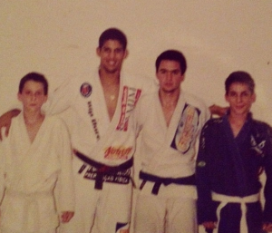 Gui as a white belt (left) and Rafa (right). Photo: Instagram @mendesbros