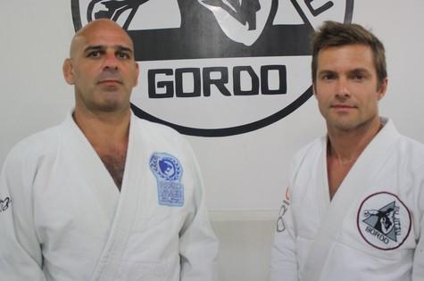 Roberto Gordo ao lado de seu aluno Cláudio Heinrich. Foto: Arquivo Pessoal