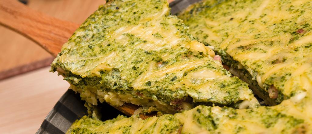 Torta light de espinafre para um pré-treino saudável.