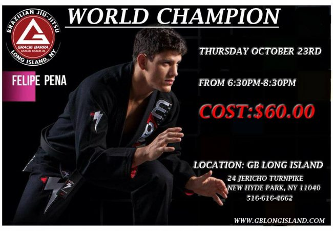 Catch Felipe Pena in New York at GMA Gracie Barra Long Island on Oct. 23!