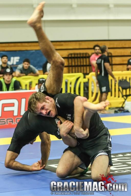 AJ applying a takedown. Photo: Ivan Trindade