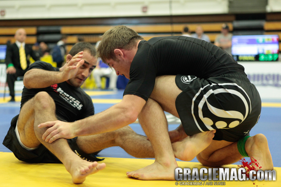 Teammates AJ Agazarm and Rodrigo Freitas fighting at the 2014 Worlds No-Gi. Photo: Ane Nunes