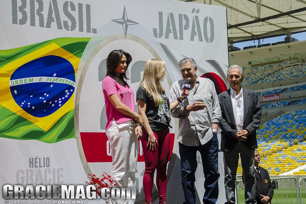 Kyra Gracie, João Alberto Barreto e Robson Gracie na homenagem a Gracie x Kimura. Foto: Carlos Arthur Jr.
