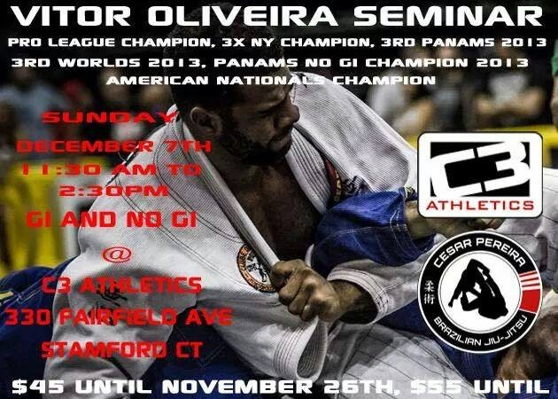 Pro League champion Vitor Oliviera seminar in Stamford, CT on Dec. 7 at GMA C3 Athletics
