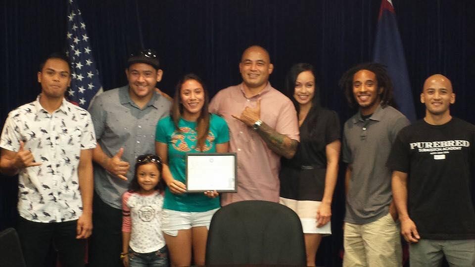 Purebred Jiu-Jtsu Guam receives honorary certificate. Photo: Robert Balajadia