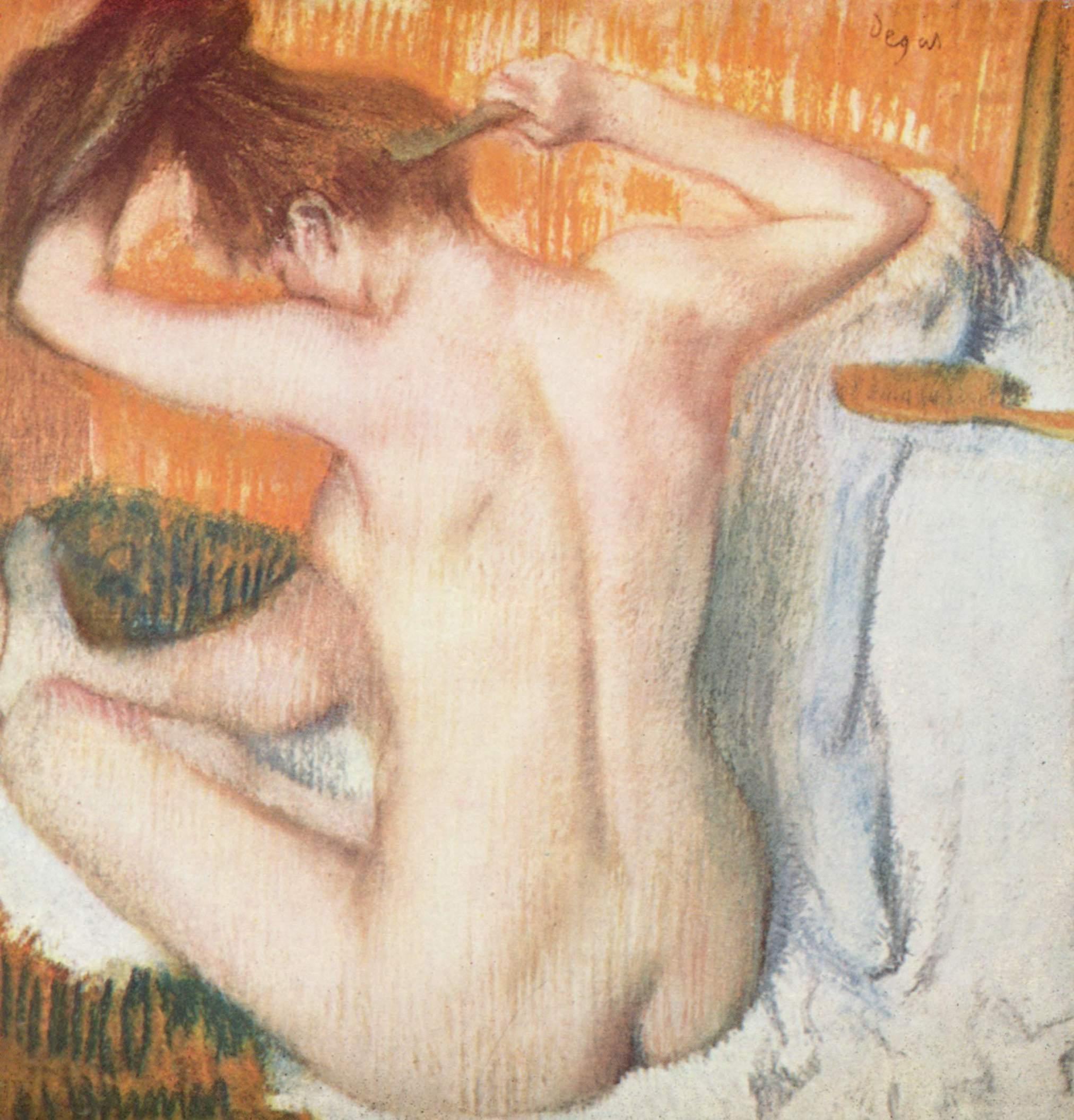 Costas de mulher, em pintura do francês Edgar Degas. Imagem: Divulgação
