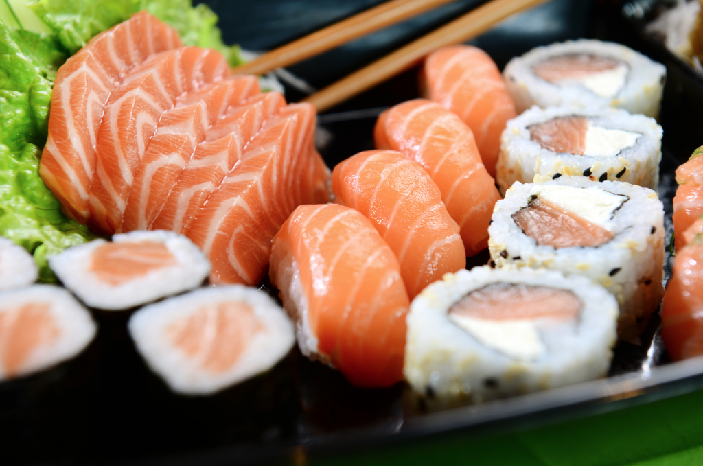 Wild Salmon Sushi and Sashimi.