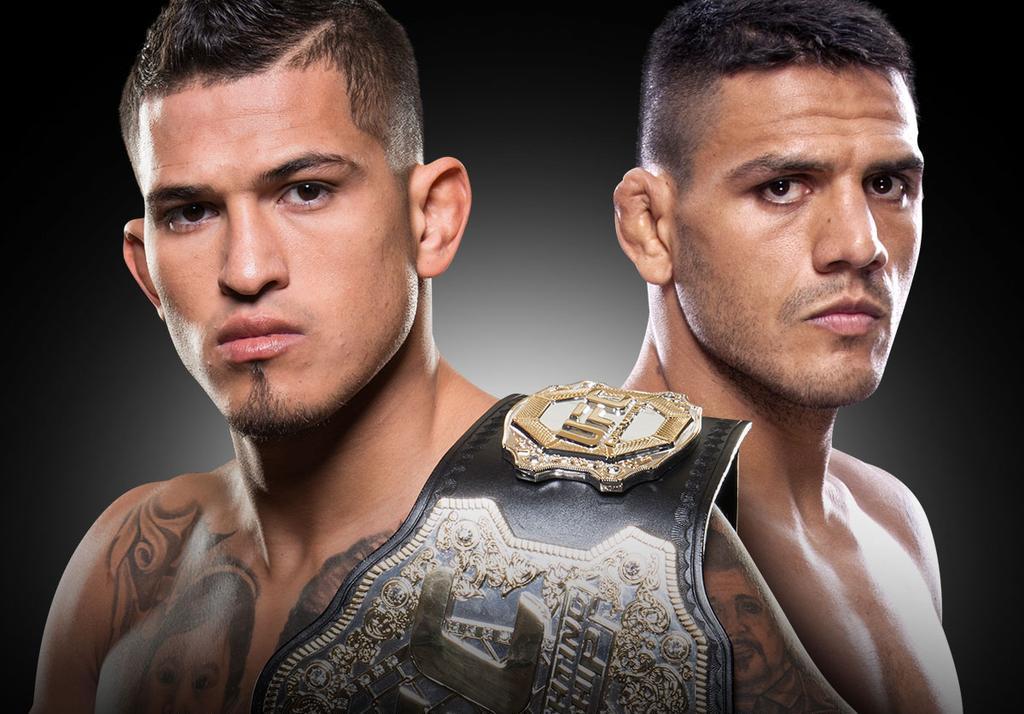 Anthony Pettis e Rafael dos Anjos se encaram pelo cinta peso leve do UFC. Foto: Reprodução/UFC