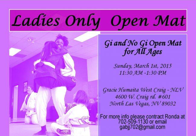 Calling ladies to Las Vegas: GMA Gracie Humaita West Craig- NLV hosting ladies open mat on March 1
