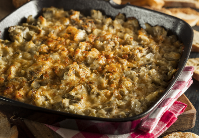 Gracie diet: low glycemic index spinach artichoke gratin