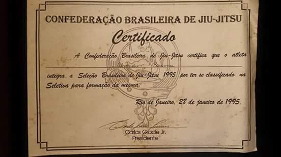 Diploma da selecao brasileira de BJJ de 1995