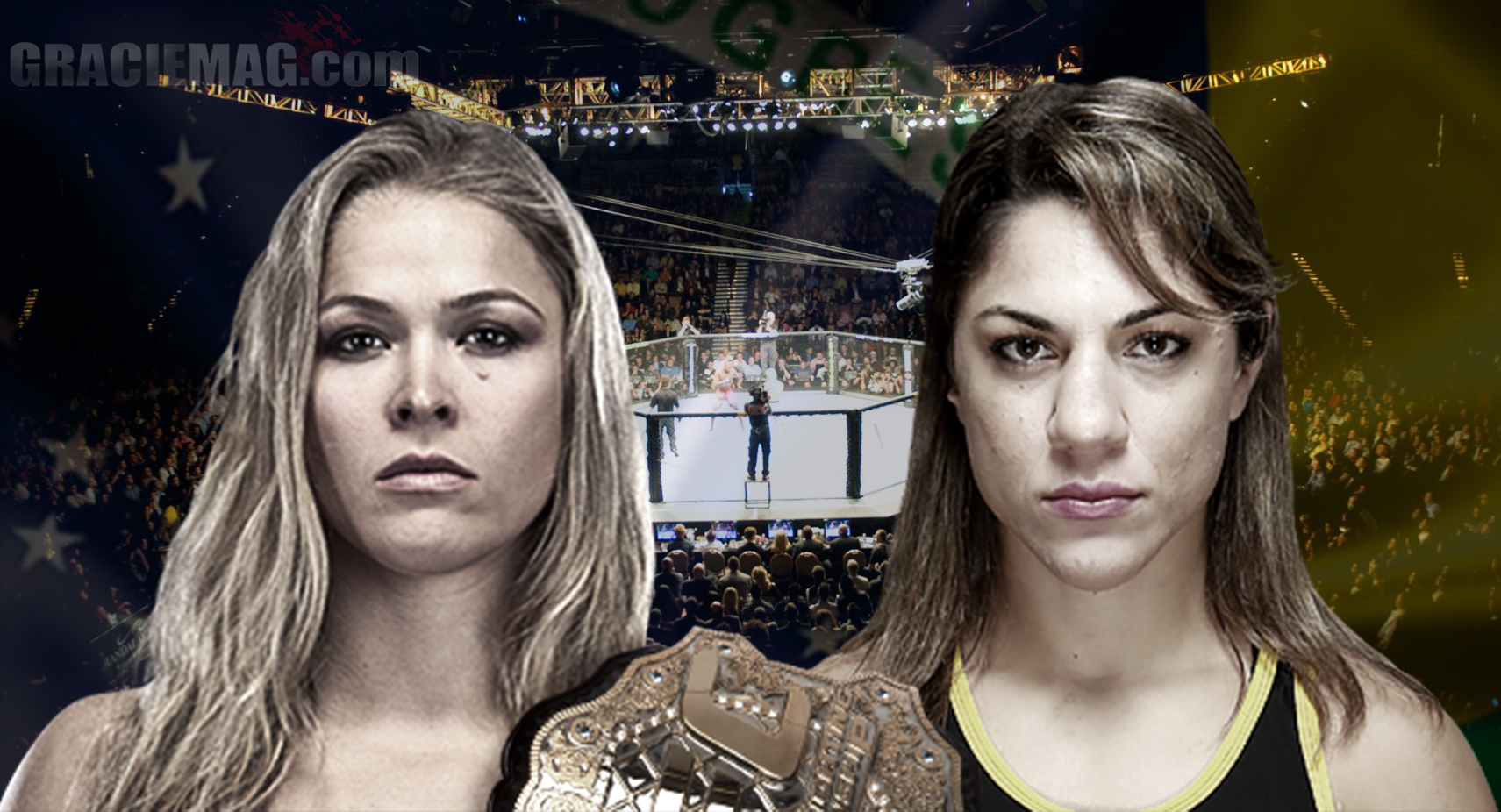 Ronda e Bethe concordam em um duelo no Brasil. Será que o UFC topa? (Montagem em fotos de Zuffa LCC via Getty Images)
