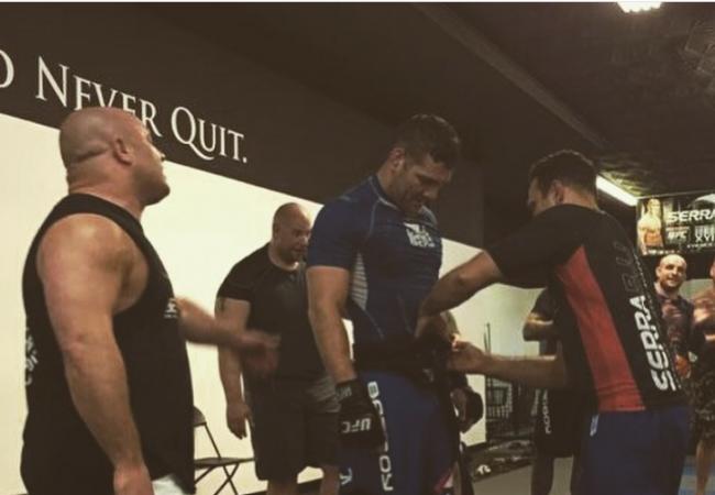 Renzo Gracie, Matt Serra surprise Chris Weidman with promotion to black belt