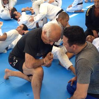 Renzo Gracie e Roberto Leitão durante o treino. Foto: Divulgação