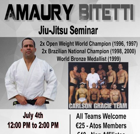 Amaury Bitetti to teach seminar at Atos Jiu-Jitsu Dublin next July 4th
